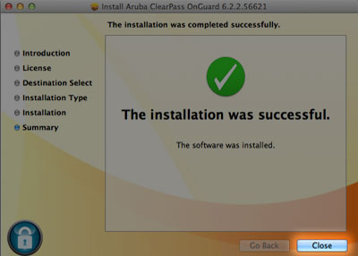 close on successful install