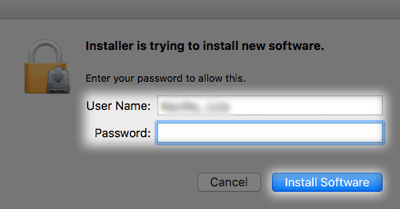 enter password and hit install